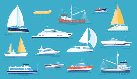 Yachts and sailboats. Small sea transport, motorboat and fishing ship. Flat marine regatta boat, ocean vessel with sail or motor, vector set