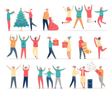 People celebrate merry christmas. Friends and family at new year party dance, sing, drink, decorate tree, hold gifts and confetti vector set
