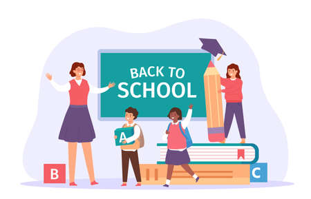 Back to school. Happy teacher meet students with bags, books and pencil. Children in classroom. First day of study, education vector concept