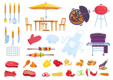 Bbq picnic food. Barbecue cooking steak, meat, fish and chicken. Cook apron, spatula, fork and knife. Cartoon summer grill party vector set