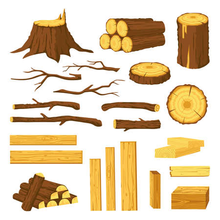 Wood trunks and planks. Raw materials for lumber industry, logs, stumps, tree stubs with bark and wooden bars. Cartoon firewood vector set