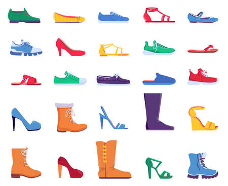Flat shoes. Fashion footwear for women and men. Sneakers, sandals, ballets and stiletto heel shoe. Trendy cartoon boots designs vector set