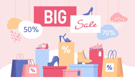 Shoe discount. Big sale banner with shopping bags and women footwear on box. Shop special offer for fashion shoes and sneakers vector design 向量圖像