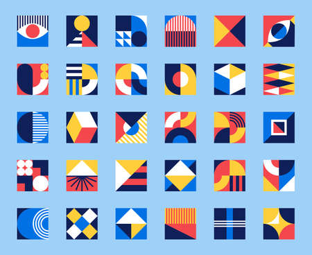 Bauhaus forms. Square tiles with modern geometric patterns with abstract figures and shapes. Contemporary graphic bauhaus design vector set 向量圖像