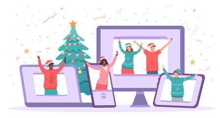 Virtual christmas party. Happy people safely celebrate new year. Friends video chat gathering, quarantine holiday celebration vector concept 向量圖像