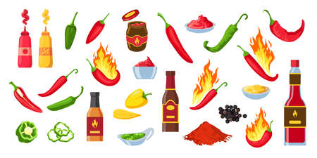 Cartoon hot sauce. Chili ketchup bottles and jars, wasabi and mustard. Souce splashes, spicy dip and cayenne pepper with flames vector set