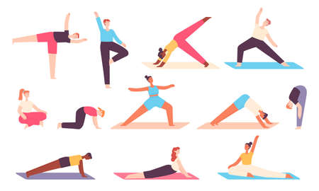 Yoga people. Men and women do stretch exercises for body and mind relax. Zen meditation in balanced asana pose. Healthy wellbeing vector set