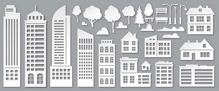 Paper cut city buildings. Origami skyscrapers, town houses, village cottages and park trees silhouettes. Urban landscape elements vector set