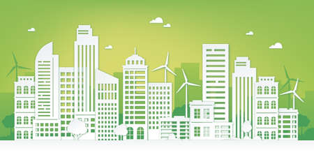 Paper cut eco city. Green urban landscape with skyscraper, trees and wind turbines. Sustainable lifestyle and clean energy vector concept