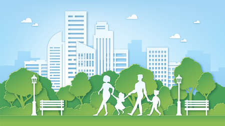 Paper art family in park. Green city environment with trees. Parents and kids walk outdoor. Paper cut clean nature landscape vector concept 向量圖像