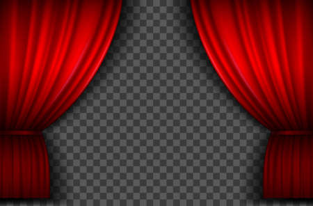 Red curtains. Realistic open velvet stage curtain for theatre show, circus or cinema. Portiere drapes for premiere ceremony vector template 向量圖像