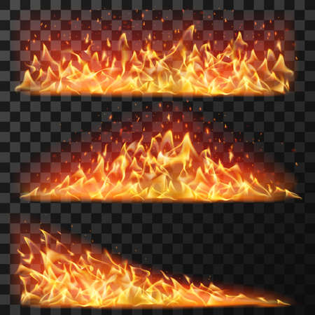 Realistic long fire. Horizontal bright flames and flare sparks for burning effect. Bonfire blaze elements for banners, isolated vector set