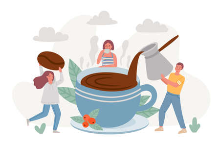 Coffee break. Big cup of morning hot drink and people drinking espresso and relax. Cafe poster with friends enjoy coffee time vector concept