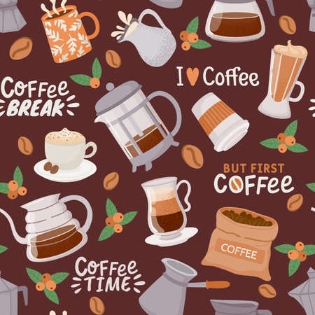 Coffee seamless pattern. Cup with cappuccino, latte, espresso maker and cream. Coffee element and quote for cafe or kitchen vector wallpaper 向量圖像