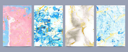 Watercolor marble textures. Abstract liquid paint and ink prints with gold splatters. Luxury stone geode pattern, fluid pastel wallpaper set