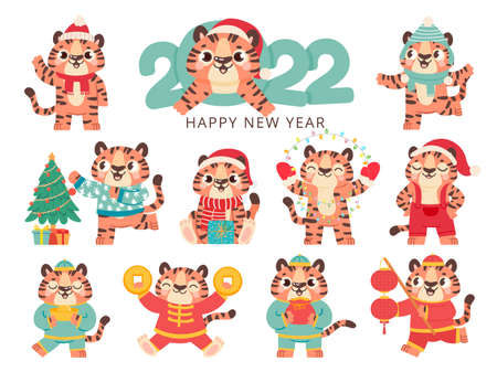 Cute tiger 2022. Chinese happy new year symbol tigers in traditional costume with gold. Merry christmas baby animal in santa hat vector set