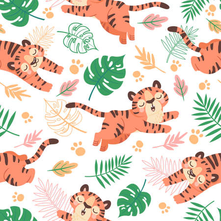 Baby tiger seamless pattern. Cute childish cartoon tigers, paw prints and tropical leaves. Jungle animal, wild cats, kids vector wallpaper 向量圖像
