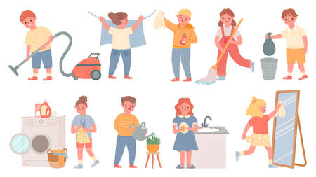 Kids housework. Children doing chores, cleaning, wash dishes, laundry, mopping floor and vacuum. Boys and girls help clean home vector set