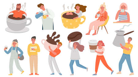 Coffee people. Men and women with hot morning drinks, sit in giant cup and hold cezve. Characters on coffee break at cafe or home vector set