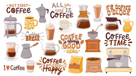 Coffee quotes and cups. Morning breakfast hot drink design for cafe posters. But first coffee. Cappuccino, espresso and latte cup vector set 向量圖像
