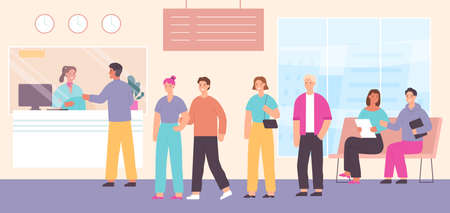 Queue to bank cashier. Customers wait in line to cash desk with clerk in bank office interior. Payment or financial withdraw vector concept. Queue waiting to bank cashier illustration