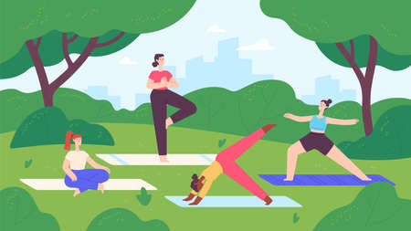Yoga in city park. Group of women do exercise and meditation in nature landscape. Outdoor fitness lesson, healthy lifestyle vector concept. Illustration park yoga workout, fitness outdoor 向量圖像