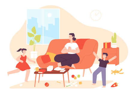 Calm mother. Mom do meditation yoga exercise and noisy naughty children jump. Chaos in home and parenting patience, cartoon vector concept. Illustration mother meditation, calm sport relaxation 向量圖像