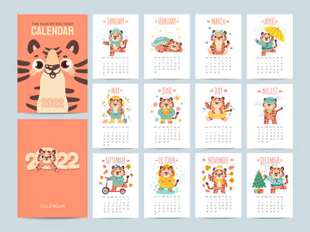 Calendar 2022 with cute tigers. Covers and 12 month pages with animal characters season activities. Chinese new year symbol vector planner