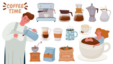 Barista and coffee maker. Tools for brewing cappuccino, espresso, cream, cups with hot breakfast drink. Coffee machine and pots vector set