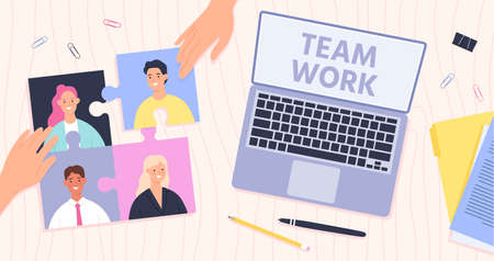 Team work management. Leader connect employees for effective teamwork. Office desk top view, hands and puzzle with workers, vector concept