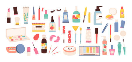 Makeup tools. Beauty cosmetic products in bottles, lipstick, mascara brush, eye shadows, polish and creams. Make up and skin care vector set 向量圖像