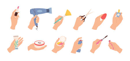 Hands hold cosmetic. Female hairdresser and stylist hand with scissors, hair dryer and beauty products, nail polish and creams, vector set