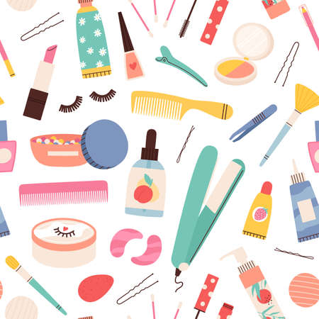 Makeup cosmetic seamless pattern. Beauty skin and hair care products and tools. Eyelashes, lipstick, mascara and cream bottles vector print