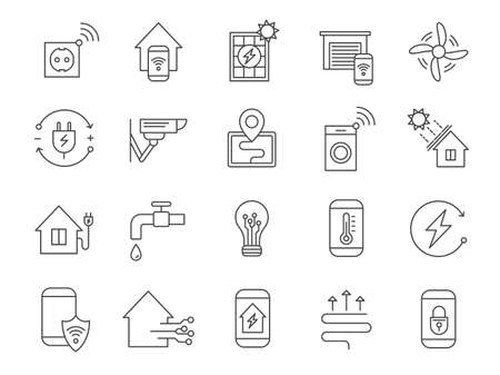 Smart house system icons. Home network, wifi automation internet technology for security, light, heat thermostat and electricity, vector set 向量圖像