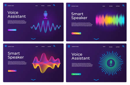 Voice assistant landing pages. Web templates for smart speaker with audio waves and microphone. Online sound recognition app page vector set 向量圖像