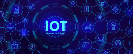Iot technology. Digital banner for internet of things or smart home device network with icons. Futuristic innovation industry vector concept 向量圖像
