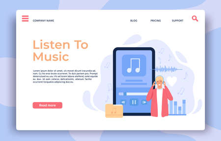 Music app landing page. Man with headphones listening playlist, songs or radio podcast on mobile phone, online audio player vector concept. App online music, application to listen podcast illustration