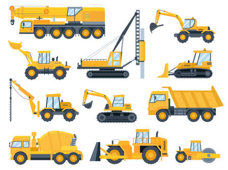 Construction machines. Heavy machinery for build, excavator, bulldozer, truck, tractor and crane vehicle. Building equipment flat vector set