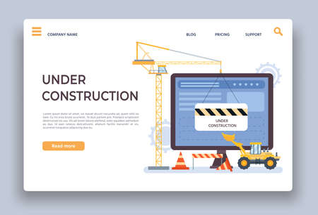 Website under construction. Landing page of developing site with crane, bulldozer and barrier. Webpage building work process vector template 向量圖像