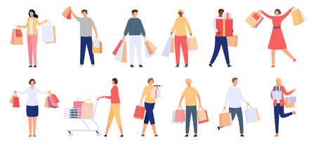 Shopping people. Male and female consumers with shop bags, gift boxes and carts. Happy customer characters with purchase, cartoon vector set