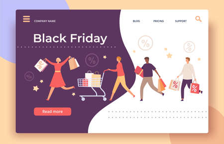 Black friday web page. Shop big sale and discount banner with running people with shopping bags, cart and gift box, landing vector template