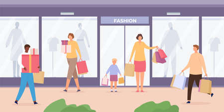 Shop street with people. Urban landscape with store showcases with mannequins and customers walking with shopping bags, flat vector concept