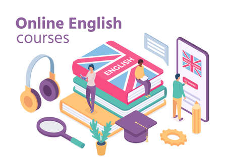 Isometric english courses. Online foreign language school with student learn vocabulary and reading books. Distance education vector concept