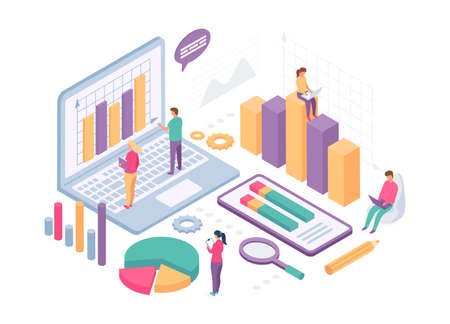 Isometric business analysis. People work with data charts, statistics graph and metrics on computer screen. Finance analytics vector concept 向量圖像