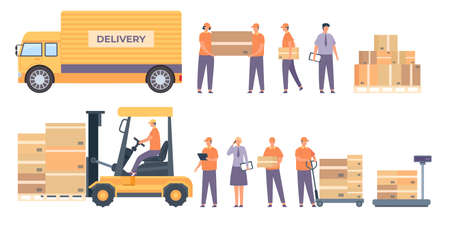Warehouse workers and equipment. Flat delivery man with parcels, truck, pallet with boxes and service worker. Logistic industry vector set