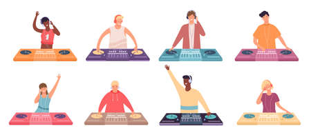 Dj characters at console. Female and male party musicians with turntable mixer. Dj make dance music for discotheque or nightclub vector set 向量圖像