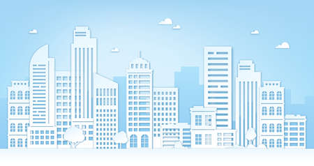 Paper cut cityscape. City landscape with skyscrapers, buildings, trees, sky and clouds. Origami silhouette of urban panorama vector concept 向量圖像