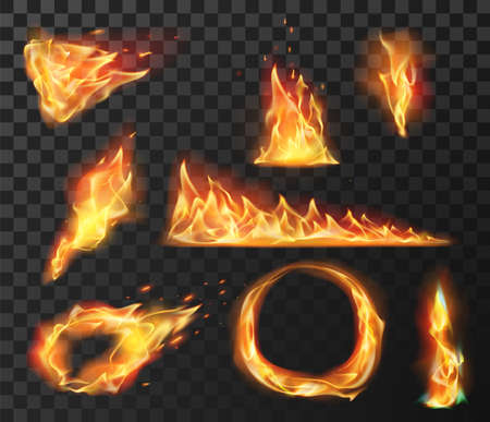 Realistic fire flame elements. Burning effects of fireball, circle, torch and wildfire. Flare blazing flames with bright sparks vector set