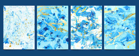 Watercolor fluid. Modern blue marble textures with golden splashes. Abstract water pattern, liquid paint, stone geode design. Ink prints set