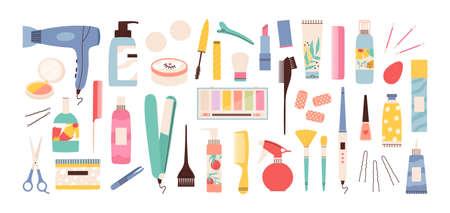 Beauty salon tools. Hairdresser, manicure and makeup equipment. Hair dryer, scissors, comb and cream bottles. Stylist cosmetics vector set